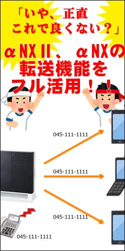 αNXⅡ、αNX転送 携帯 スマホ